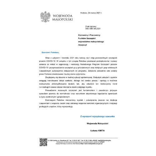 podziekowania-dla-punktow-szczepien-od-wojewody-malopolskiego